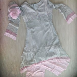 NWT Pakistani Indian 3Piece Grey/Pink Kameez Suit